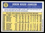 1970 Topps #125  Deron Johnson  Back Thumbnail