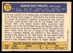 1970 Topps #376  Lefty Phillips  Back Thumbnail