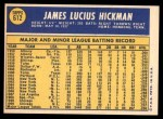 1970 Topps #612  Jim Hickman  Back Thumbnail