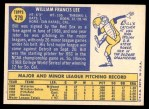 1970 Topps #279  Bill Lee  Back Thumbnail