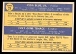 1970 Topps #21   -   Vida Blue / Gene Tenace Athletics Rookies Back Thumbnail