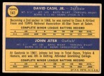 1970 Topps #141   -  Dave Cash / Johnny Jeter Pirates Rookies Back Thumbnail
