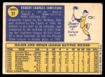 1970 Topps #51  Bob Christian  Back Thumbnail