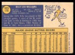 1970 Topps #170  Billy Williams  Back Thumbnail