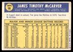 1970 Topps #90  Tim McCarver  Back Thumbnail