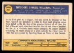 1970 Topps #211  Ted Williams  Back Thumbnail