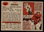 1957 Topps #28  Lou Groza  Back Thumbnail