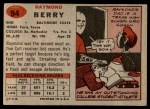 1957 Topps #94  Raymond Berry  Back Thumbnail