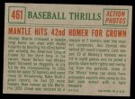 1959 Topps #461   -  Mickey Mantle Hits 42nd Homer for Crown Back Thumbnail