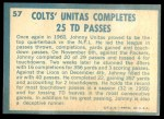 1961 Topps #57   -  Johnny Unitas 1960 Football Highlights Back Thumbnail