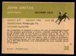 1961 Fleer #30  Johnny Unitas  Back Thumbnail