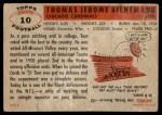 1956 Topps #10  Tom Bienemann  Back Thumbnail