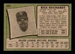 1971 Topps #643  Rick Reichardt  Back Thumbnail