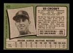 1971 Topps #672  Ed Crosby  Back Thumbnail