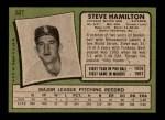 1971 Topps #627  Steve Hamilton  Back Thumbnail