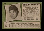 1971 Topps #490  Deron Johnson  Back Thumbnail