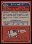 1973 Topps #162  Ron Widby  Back Thumbnail