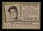 1971 Topps #708  Russ Nagelson  Back Thumbnail