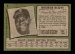 1971 Topps #9  George Scott  Back Thumbnail