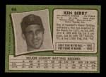 1971 Topps #466  Ken Berry  Back Thumbnail