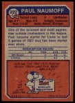 1973 Topps #222  Paul Naumoff  Back Thumbnail