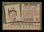 1971 Topps #608  Mike Wegener  Back Thumbnail