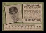 1971 Topps #611  Tom Phoebus  Back Thumbnail