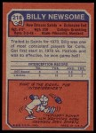 1973 Topps #218  Billy Newsome  Back Thumbnail