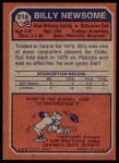 1973 Topps #218  Billy Newsome  Back Thumbnail