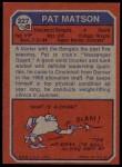 1973 Topps #227  Pat Matson  Back Thumbnail