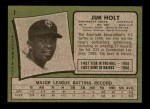 1971 Topps #7  Jim Holt  Back Thumbnail