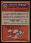 1973 Topps #255  Walter Johnson  Back Thumbnail