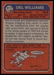 1973 Topps #277  Del Williams  Back Thumbnail