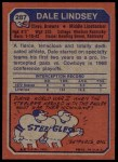 1973 Topps #287  Dale Lindsey  Back Thumbnail