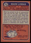 1973 Topps #302  Mark Lomas  Back Thumbnail