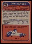 1973 Topps #173  Don Hansen  Back Thumbnail