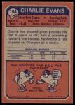 1973 Topps #184  Charlie Evans  Back Thumbnail