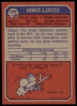 1973 Topps #195  Mike Lucci  Back Thumbnail