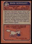 1973 Topps #212  Mark Nordquist  Back Thumbnail