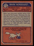 1973 Topps #212  Mark Nordquist  Back Thumbnail