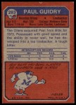 1973 Topps #283  Paul Guidry  Back Thumbnail