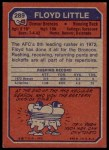 1973 Topps #289  Floyd Little  Back Thumbnail