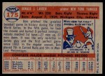 1957 Topps #175  Don Larsen  Back Thumbnail