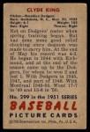 1951 Bowman #299  Clyde King  Back Thumbnail