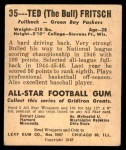 1948 Leaf #35  Ted Fritsch  Back Thumbnail