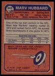 1973 Topps #345  Marv Hubbard  Back Thumbnail