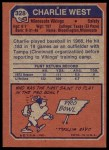 1973 Topps #328  Charlie West  Back Thumbnail