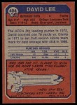 1973 Topps #404  David Lee  Back Thumbnail
