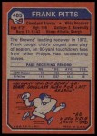 1973 Topps #405  Frank Pitts  Back Thumbnail