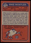 1973 Topps #409  Mike Montler  Back Thumbnail
